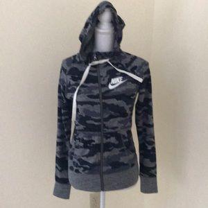 NWT! Nike XS grey camo Zippered hoodie